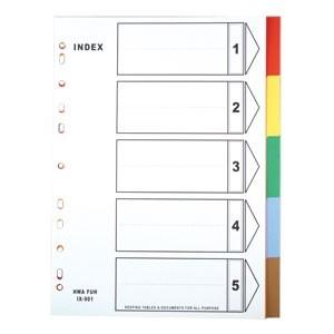 HFPWP 11孔5段塑膠五色分段紙 IX901