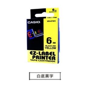 CASIO 6mm標籤機色帶 KR-6WE1白底黑...