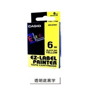 CASIO 6mm標籤機色帶 KR-6X1 透明底...