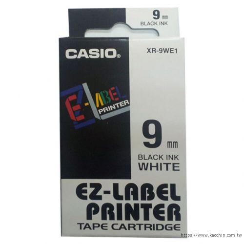 CASIO 9mm標籤機色帶 XR-9WE1 白底...