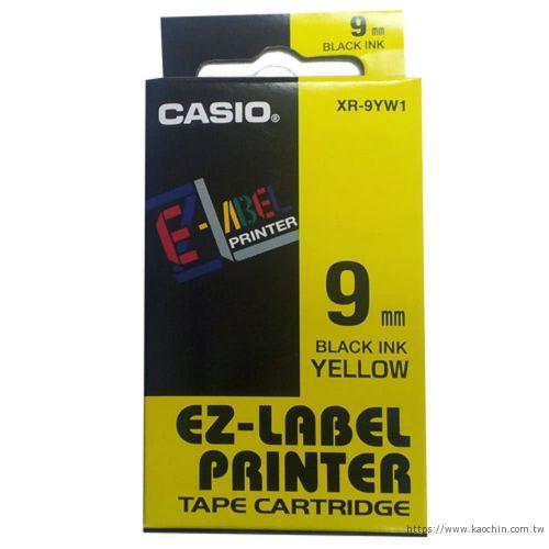 CASIO 9mm標籤機色帶XR-9YW1黃底黑字...